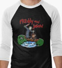 Freddy and Jason - Calvin and Hobbes Mash Up Men's Baseball ¾ T-Shirt