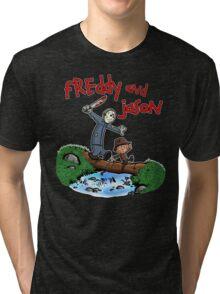 Freddy and Jason - Calvin and Hobbes Mash Up Tri-blend T-Shirt