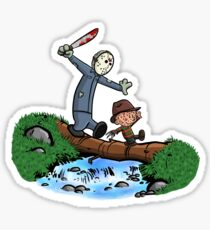 Freddy and Jason - Calvin and Hobbes Mash Up Sticker