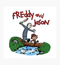 Freddy and Jason - Calvin and Hobbes Mash Up Photographic Print