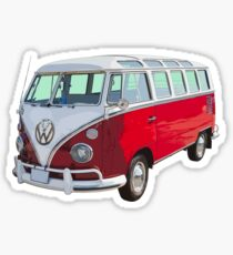 VW 21 window Mini Bus red and White Sticker