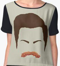 Ron Swanson Bacon Mustache  Chiffon Top