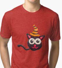 Black plasticine cat Tri-blend T-Shirt