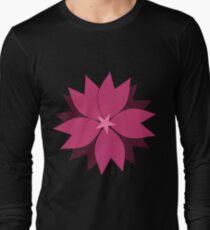 Pink vector flower digital art Long Sleeve T-Shirt