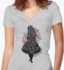 Alice in Wonderland Quote Silloette  Women's Fitted V-Neck T-Shirt