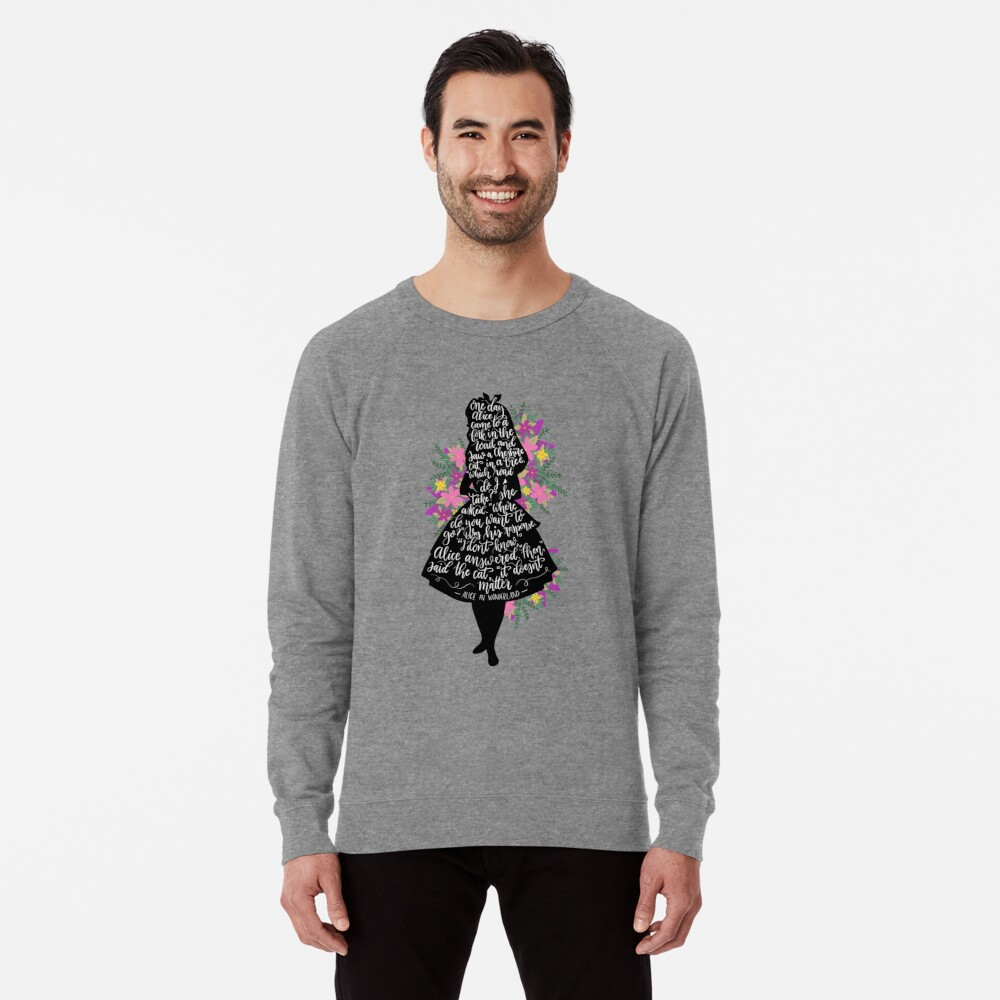 Alice im Wunderland Zitat Silloette Leichter Pullover