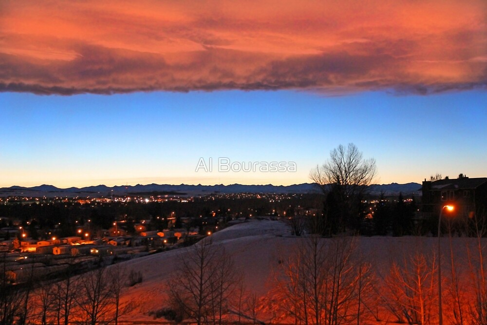 Winter Chinook Sunset Over The Rockies by Al Bourassa
