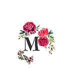 Floral Monogram Watercolor Letter M by SaraLoone