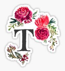 Floral Monogram Watercolor Letter T Sticker