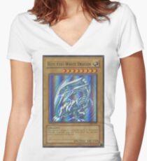 Blue-eyes white dragon Women's Fitted V-Neck T-Shirt