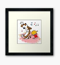 Calvin and Hobbes Dancing On The Floor Framed Print