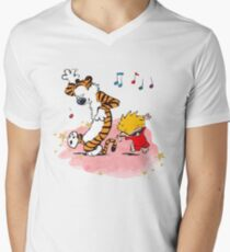 Calvin and Hobbes Dancing On The Floor Mens V-Neck T-Shirt