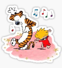 Calvin and Hobbes Dancing On The Floor Sticker