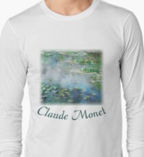 1906 Water Lilies oil on canvas.  Famous vintage fine art by Claude Monet. Long Sleeve T-Shirt
