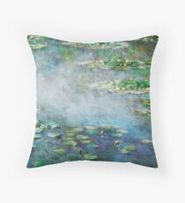 1906 Water Lilies oil on canvas.  Famous vintage fine art by Claude Monet. Throw Pillow