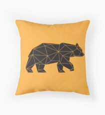 Yellow and Black Geometric Bear Throw Pillow