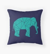 Navy and Teal Geometric Elephant Throw Pillow