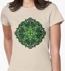 .Green Celtic Cross & Clover Sacred Geometry Energy Mandala Womens Fitted T-Shirt