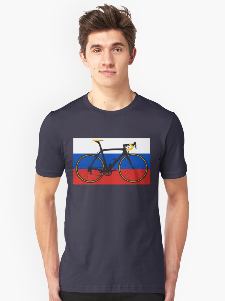 Bike Flag Russia (Big - Highlight) Unisex T-Shirt Front