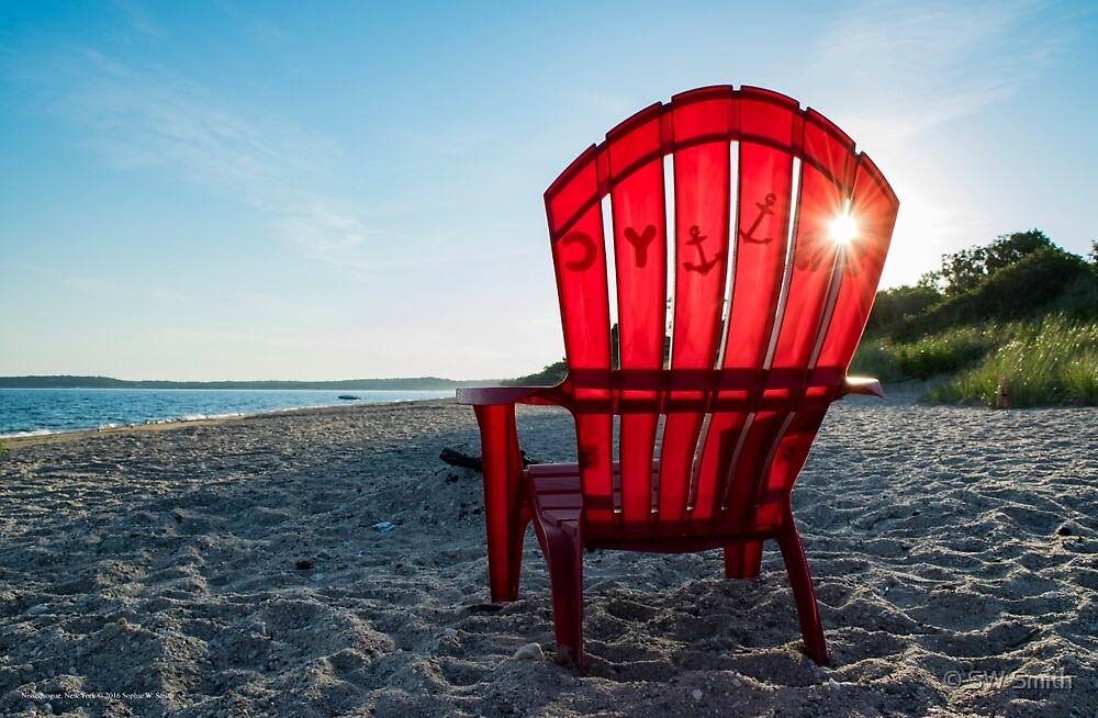 Sunrise In A Red Adirondack Chair | Nissequogue, New York by © Sophie W. Smith