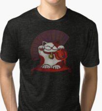 White Maneki Neko with a Japanese fan Tri-blend T-Shirt