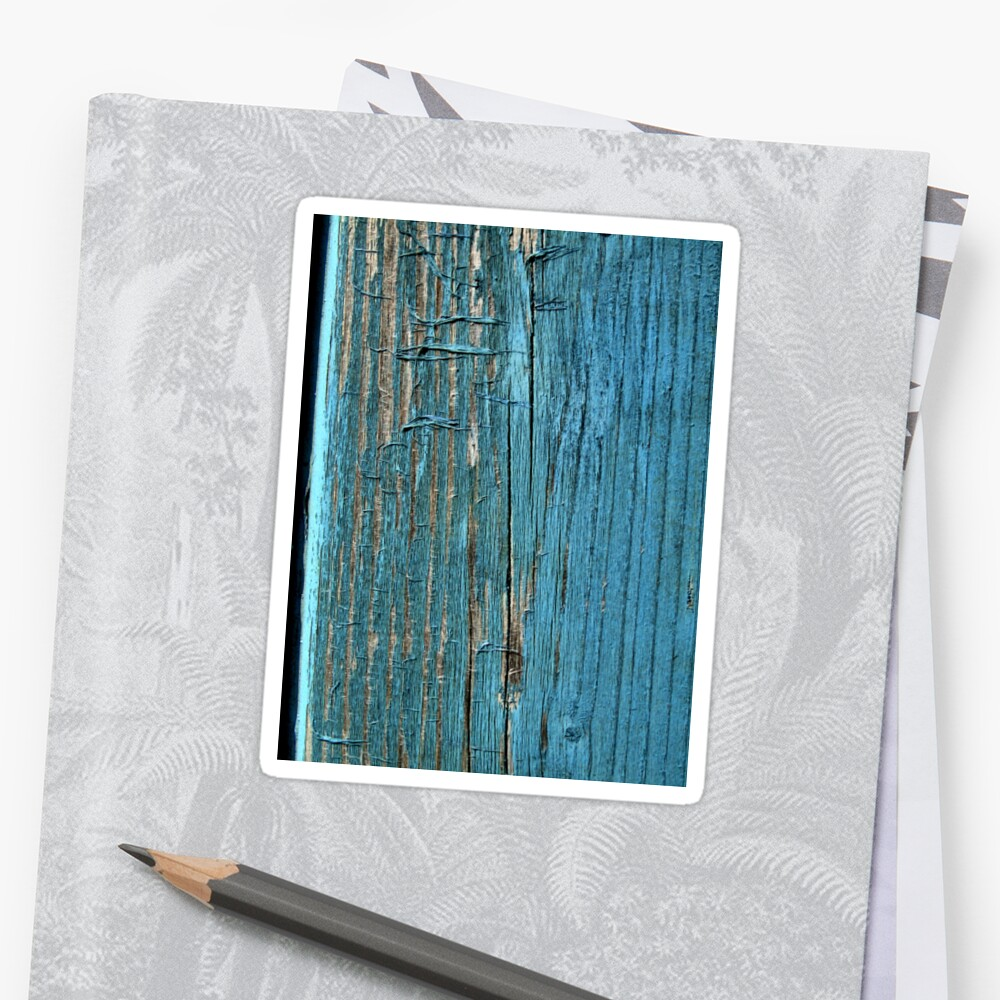 Rustic wood effect shabby print in turquoise Sticker