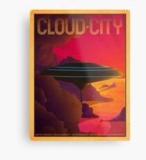 Cloud City Retro Travel Poster Metal Print