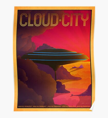Cloud City Retro Travel Poster Poster