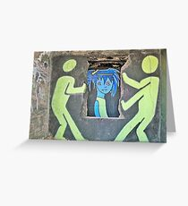 """Ghost Town Blue Girl: """"She puts her makeup on like graffiti on the walls of the heartland….""""  Greeting Card"""