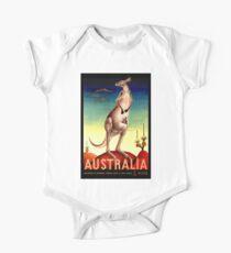 """""""AUSTRALIA OUTBACK"""" Vintage Kangaroo Travel Poster Kids Clothes"""