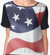 America, Colored pencils and inkpen US flag Chiffon Top