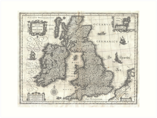 Map Of England Vintage.Vintage Map Of England And Ireland 1631 Art Prints By