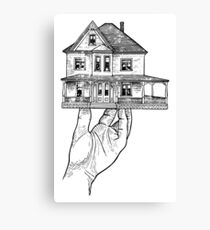 House in a Hand (Drawing) Canvas Print