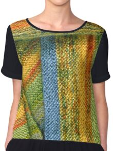 Knitted Stripes Chiffon Top