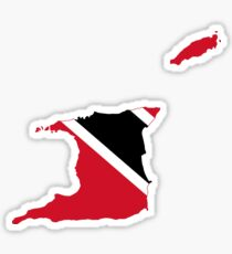 Trinidad and Tobago Flag Map Sticker