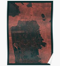 San Francisco Map Red Poster
