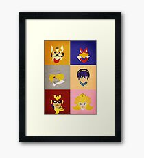 Smash Bros Melee Top Tier Faces Framed Print