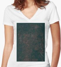 Rome Map Red Women's Fitted V-Neck T-Shirt