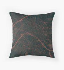 Paris Map Red Throw Pillow