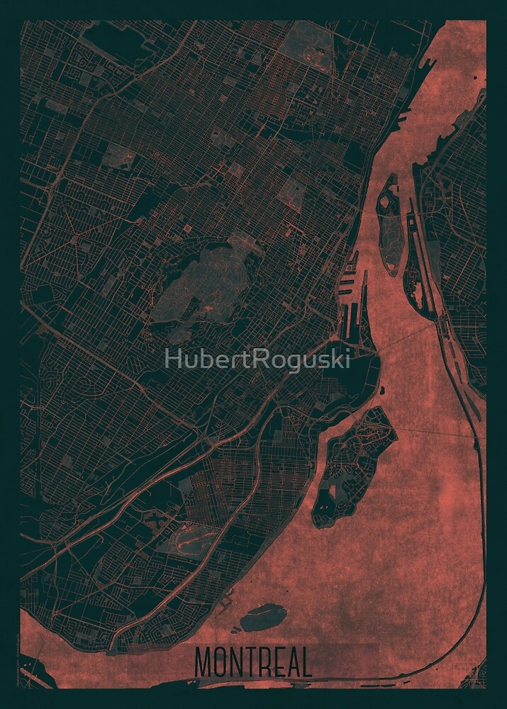 Montreal Map Red by HubertRoguski