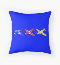 Airplane blue red yellow Throw Pillow