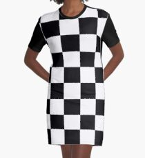 Black and White Checkerboard Graphic T-Shirt Dress