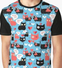 Graphic pattern with lovers cats Graphic T-Shirt
