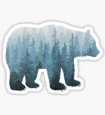 Misty Forest Bear - Turquoise Sticker
