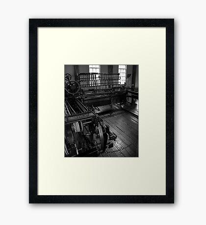 Inside Slater Mill Framed Print
