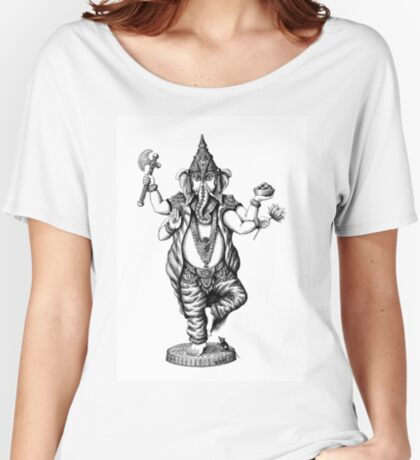 God Ganesha ink pen drawing Women's Relaxed Fit T-Shirt