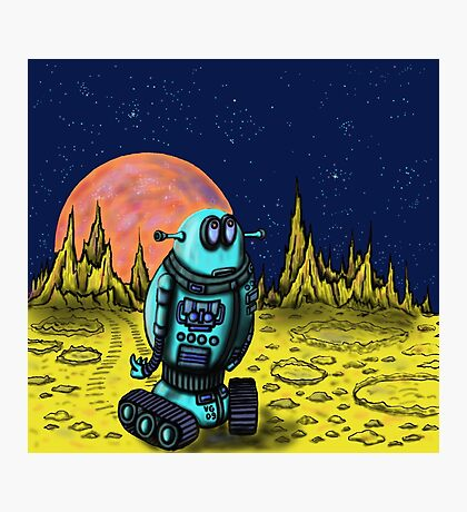 Lonely robot on remote planet darwing Photographic Print