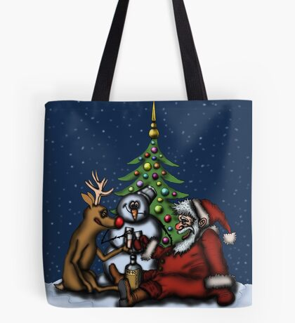 Funny Christmas Drinking Party drawing Tote Bag