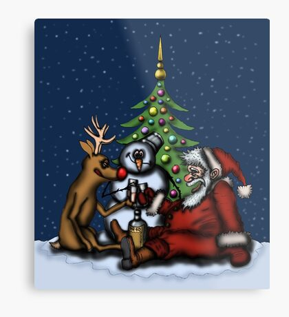Funny Christmas Drinking Party drawing Metal Print