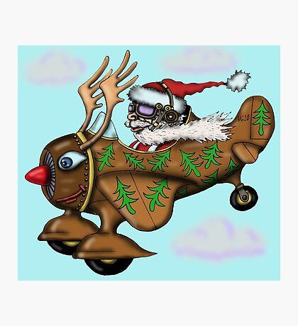 Funny Santa on Rudolph plane drawing Photographic Print